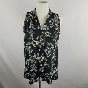 Vince Camuto Blouse Black White Gray Floral